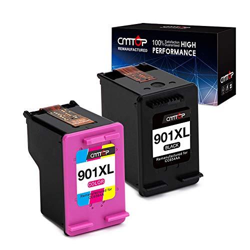 CMTOP Remanufactured for HP 901 XL 901XL Ink Cartridges, High Yield, 1 Black 1 Tri-Color, for HP Officejet 4500 J4500 J4540 J4524 J4580 J4680 J4680C J4525 J4535 J4550 J4585 J4624 J4640 J4660 Printer