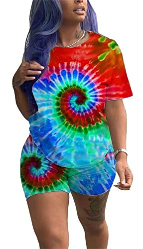 (Women Fashion Multicolor Circle Printed Clubwear 2 Piece Outfits Loose T Shirt Short Pants Set Sportwear)
