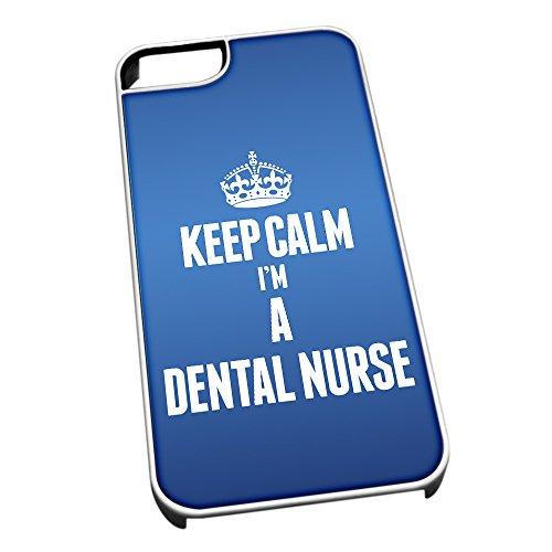 Bianco cover per iPhone 5/5S blu 2566Keep Calm I m A nurse dentale