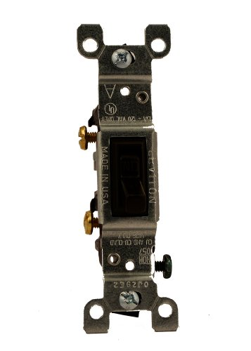 p, 120 Volt, Toggle Framed Single-Pole AC Quiet Switch, Residential Grade, Grounding, Brown ()