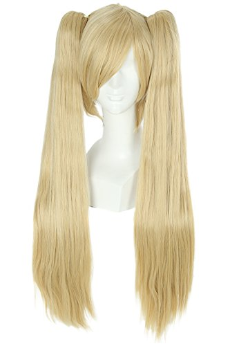[Nuoqi Anime Miku Cosplay WIgs Butterscotch Blonde Straight Clip on Ponytails] (Blonde Pigtail Wig)