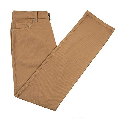 Ermenegildo Zegna Tawny Brown Cotton Hopsack Leather Jacron Jean Cut Slim Fit Pants 32W