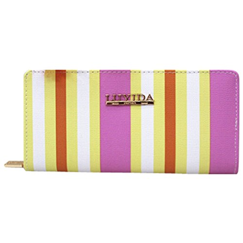 Women Fashion PU Leather Wallet Zip Around Purse Long Handbag (Pink) - 3