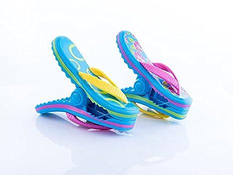 Pinzas para toalla de playa con diseño de Boca, 2 pares de flips, rayas azules y rosas: Amazon.es: Jardín