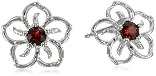 Sterling Silver Garnet Flower Stud Earrings (Garnet Rings Sterling Silver compare prices)