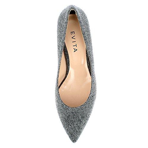 Evita Shoes Franca - Mocasines de Fieltro para mujer gris