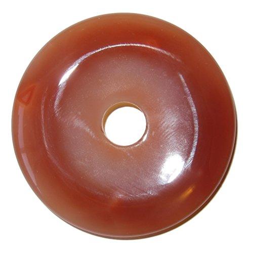 "SatinCrystals Carnelian Amulet 2"" Premium Big Round Medallion Crystal Red Orange Circle Stone Pendant Healing Charm P01"