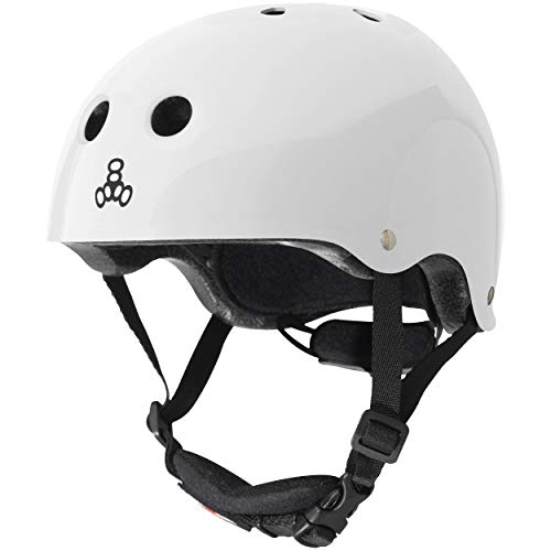 Triple Eight Lil 8 Dual Certified Sweatsaver Kids Skateboard and Bike Helmet with Padded Chin Buckle, White Glossy