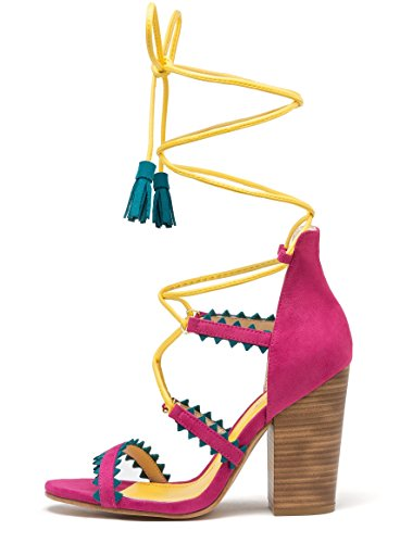 Andreas Women Shoes Gladiator Multicolor Sandal Block Heeled Ankle Strap Pop poms PVJg48Rhkx