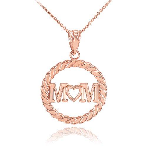 Collier Femme Pendentif 14 Ct Or Rose Mom Cœur À Cercle Corde (Livré avec une 45cm Chaîne)