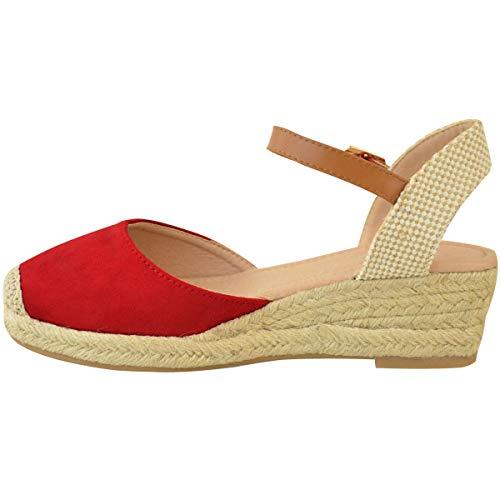 Talla Por Heelberry De Cuña Ante Mujer Verano Fashion Tiras Baja Rojo Nuevo Sandalias Tacón Alpargatas Zapatos Artificial Thirsty qfRSP