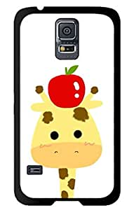 MI.YOO Cute Giraffe and Apple Hard Plastic Back Case Cover Phone Protective Case for Samsung Galaxy S5 i9600