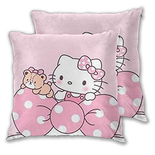 Xzcxyadd Hello Kitty with Bow Bedding Decorative Pillow Insert - Square 18 to 22 Inch Sofa and Bed Pillow Case,Pack of 2,Four Sizes, Polyester