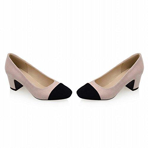 Carolbar Beige Toe Charm Assorted Schuhe Gericht Pink Farbe Frauen Ferse Mitte Square rqfrSxn