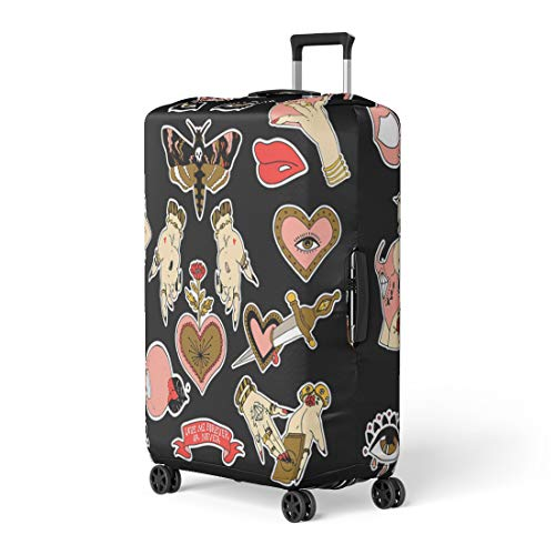 Pinbeam Luggage Cover Pins Patches and Notes Collection in Cartoon Travel Suitcase Cover Protector Baggage Case Fits 26-28 inches
