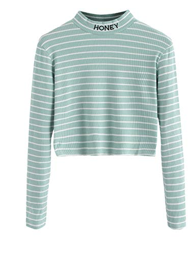 SweatyRocks Women's Mock Neck Embroidered Letter Long Sleeve Striped Crop Top T Shirt Green S