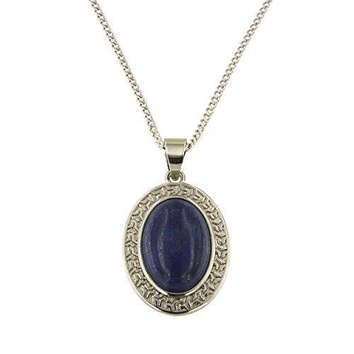 Lapis Lazuli Locket (Dyed Lapiz Lazuli Oval Cabochon Brass Silver Color Finish 18