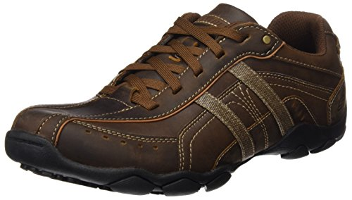 Skechers Usa Menns Diameter-guy Ting Oxford Sneaker Brunt Skinn