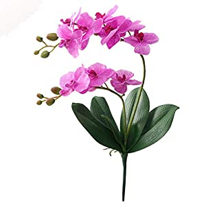 Artificial Flower Real Touch Latex 2 Branch Orchid Flowers with Leaves Wedding Decoration Flores 79