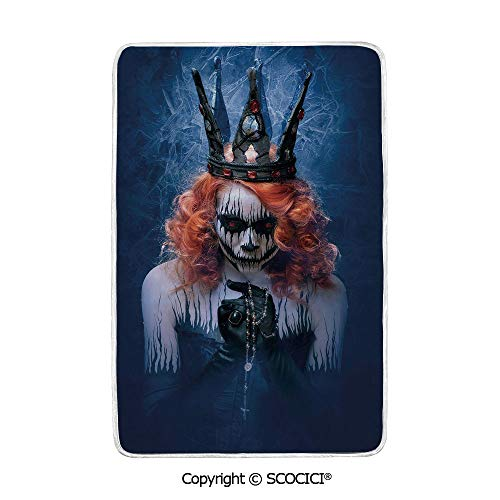 SCOCICI Ultra Comfortable,Cozy and Warm Carpet Blanket Queen of Death Scary Body Art Halloween Evil Face Bizarre Make Up Zombie No Colour Fading Rug One Side Printed -