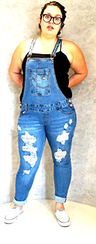 f83a929c086 WOMENS Juniors Plus Size BLUE Denim JEANS Distressed Overall Long ...