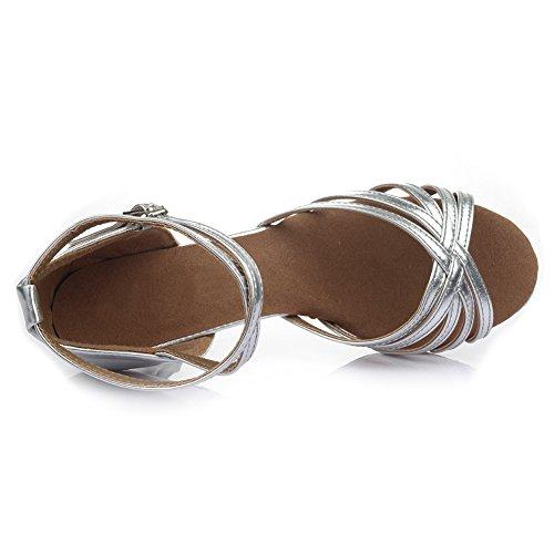HROYL Zapatos de baile/Zapatos latinos de satén mujeres ES7-F13 7CM Plateado
