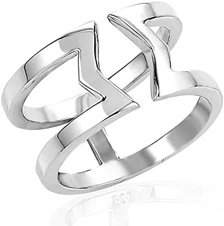 925 Sterling Silver Wrap Around Zig Zag Center Above Knuckle Midi or Thumb Ring 9mm, Size 4