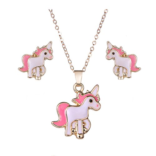 HENGSONG Women Girls Plated Silver Alloy Long Chian Earrings and Necklace Pendant Charms Chain for Christmas Gift Unicorn