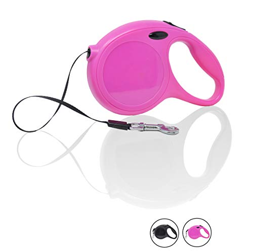 Bulldog Pink Ribbon - LORESO 16 Ft New Classic Retractable Dog Leash Pink - Traction Rope Leashes for Small-Medium Dogs, Walking Training Secure One-Button Break-Lock, Strong & Durable Extending Adjustable Nylon Ribbon