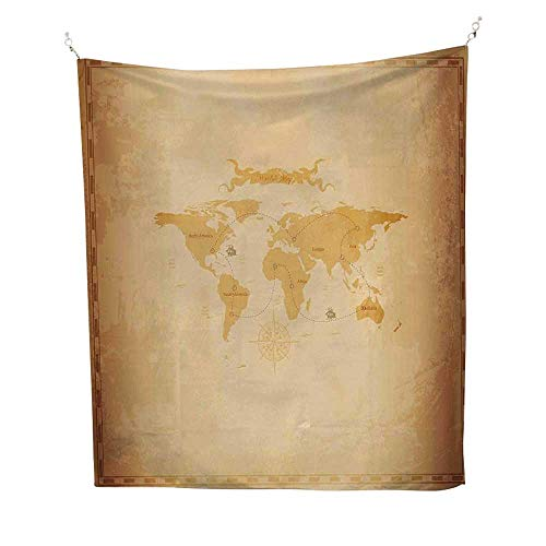 World Mapwall Tapestry for bedroomRustic Antique Vintage Explorer Routes Compass Figure Grungy Display 51W x 60L inch Beach tapestryPale Coffee Sand Brown