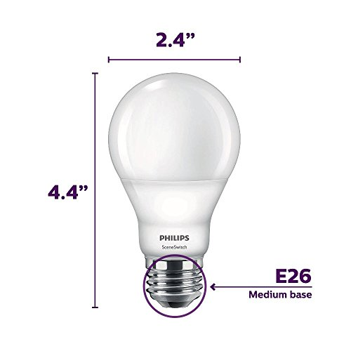 Philips LED 464867 60 Watt Equivalent SceneSwitch Daylight, Soft White, Warm Glow A19 LED Light Bulb, 4 Pack, 4-Pack, Color Change