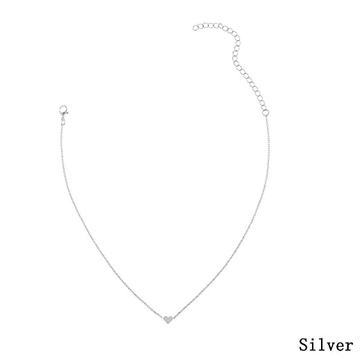 dff6c34a24 Love Heart Choker Necklace Silver Gold Plated Collar Chain: Amazon.co.uk:  Kitchen & Home