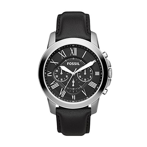 Buy black leather fossil watch men