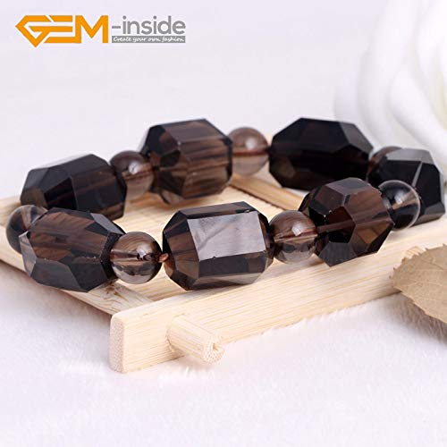 (Natural Faceted Smoky Quartz Gemstone Beaded Elastic Bracelet Jewelry | for Women, Men | New)