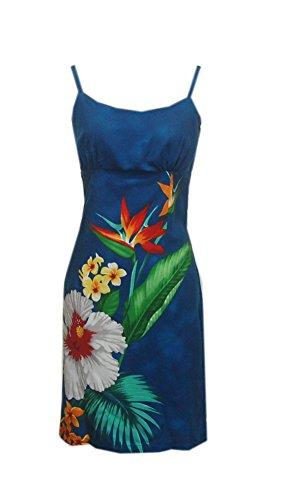 Jade Fashions Inc. Women Hawaiian Short Blue Tropical Flower Spaghetti Dress-Blue-X-Small (Jade Empire Guide)