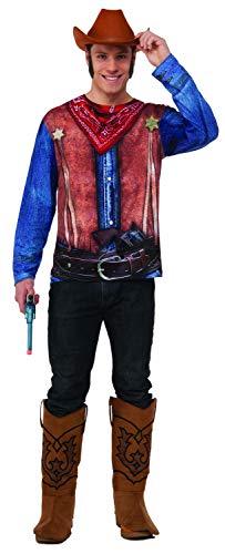 Forum Men's Cowboy Sublimation Printed Shirt, Blue/Red/Multicolor Large ()