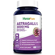 Astragalus 3000mg Per Caps 200 Veggie Capsules (Vegetarian, Non-GMO & Gluten Free) Max Strength - Supports Cardiovascular Health, Boosts Immune Function