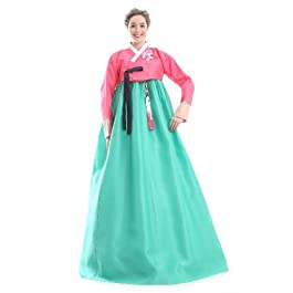 Hanbok Custom Made Silk Green Red Evening Party Formal Full Length Korean Dress