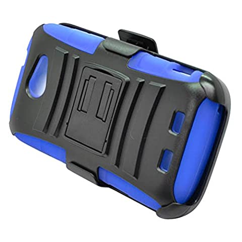 ZTE Warp Sync N9515 (Boost Mobile) - Black and Blue Impact Protective Armor Kickstand Hybrid Combat Cover Case + Locking Swivel Belt Clip Holster + Atom LED Keychain (Zte Warp Sync Rubber Phone Case)