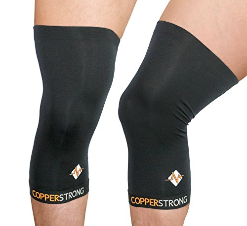CopperStrong Knee Sleeve - Professional Performance Recovery - GUARANTEED Premium Copper Fit Men and Women Premium Wave Silicone Skin