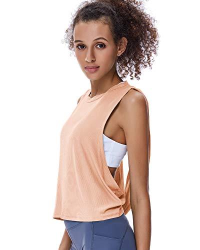 REKITA Womens Open Back Workout Tops Knitting Backless Tank Tops Flowy Yoga Top Cute Gym Shirts