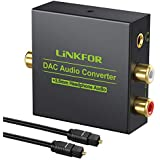 LiNKFOR Digital to Analog Audio Converter DAC Converter Digital Optical SPDIF Toslink Coaxial to Analog RCA L/R 3.5mm Jack Stereo Audio Adapter Converter with Optical Cable for HDTV PS3 PS4 TV Box