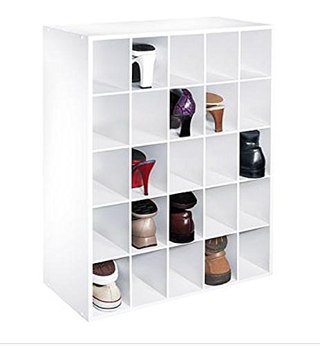 White Shoe Closet Storage Cabinet Fits 25 Pair of Shoes Cubby Organizer Cube Rack Boot Boots Home Furniture Hallway Doorway Hall Shelf Shelves Pairs Design Modern Style Fashion ()