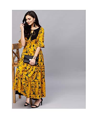 DreamAngel Women Mustard Yellow Kalamkari Print Anarkali Kurta (Extra Small) ()