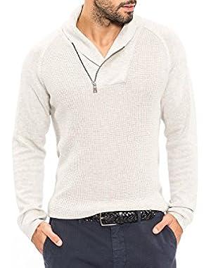 Men's Shawl Collar Asymmetrical-Zipper Sweater beige Large
