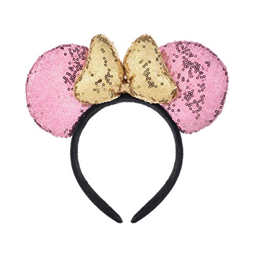 A Miaow 3D Mickey Mouse Sequin Ears Headband Minnie Glitter Hair Clasp Park Supply Girls Kids Adult Photo Accessory (Pink and Golden) -