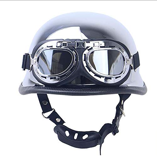 Sunzy Electroplated Silver Summer Locomotive Retro Half Helmet, Cruiser German Defence Force Helmet Helmet DOT Certified Motorcycle Army, with Glasses,XL