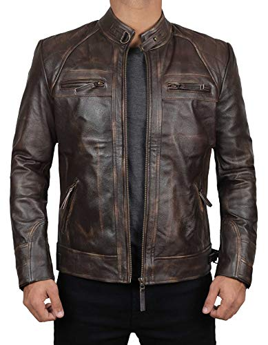 Claude Distressed Brown Genuine Lambskin Leather Mens Jacket | M