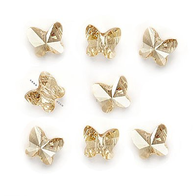 - SWAROVSKI ELEMENTS Crystal Butterfly Beads #5754 6mm Golden Shadow (8)