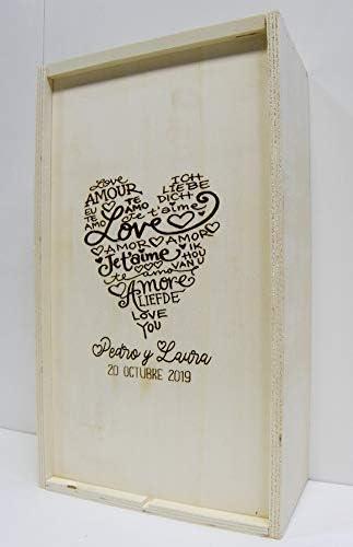 Arte-Deco Caja de Madera para 2 Botellas de Vino grabada y Personalizada con CORAZ/ÓN Love Regalo Hombre y Mujer para cumplea/ños Aniversario o Cualquier celebraci/ón